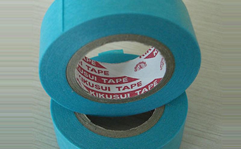 原装进口日本菊水蓝色和纸遮蔽胶带,橡胶和纸胶带,遮蔽效果好,基材柔软服帖,撕除无残胶