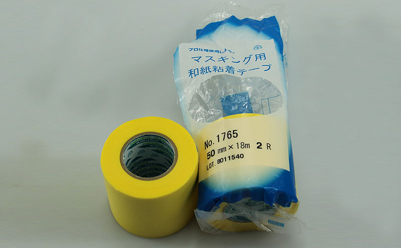 原装进口日本菊水黄色汽车喷漆遮蔽和纸胶带,柔软服帖和纸基材,橡胶胶层,撕除无残胶